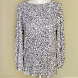 Ann Taylor Loft Blue and White Boucle Sweater - Sm